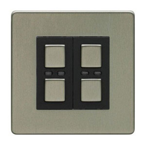 LightwaveRF STAINLESS STEEL 1 Master / 1 Slave Dimmer